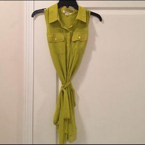 Chartreuse sleeveless sheer blouse NWOT
